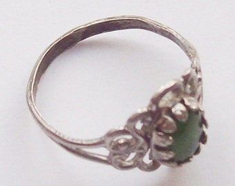 Jade Sterling Silver Ring Size 7