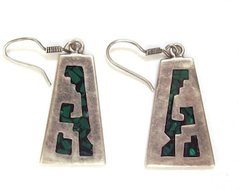 Mexican Trapezoid Sterling Silver Earrings with Black and Green Inlay