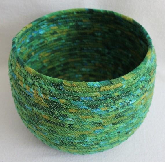 Rainforest Green Large Round Coiled Basket / Bowl / Pot by PrairieThreads