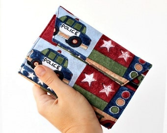 Sale - Rescue Vehicles Small Crayon Wallet, Art wallet, Art portfolio, Creative play, Art kit, Crayon roll, Travel toy, Toddler toy