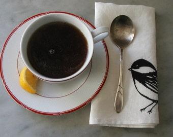 Organic Linen Napkins - Chickadees - Set of Two Seconds - Sale - Cloth Dinner Napkins