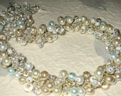 SOMETHING BLUE Bridal Wedding Jewelry, Cottage Chic Pearl Crystal Hand Knit Twist Necklace, Ivory, Sky Blue,  Soft White, Champagne