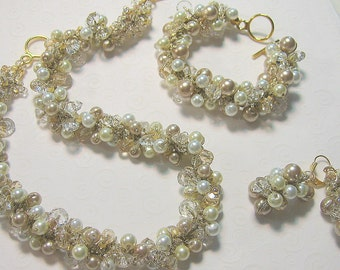 Bridal  Wedding Jewelry Set, Champagne, Gold, Ivory Pearl Crystal Hand Knit Necklace - Bracelet - Earrings by Sereba Designs