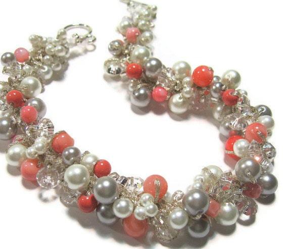 Pearl BRIDAL Necklace POPPY Coral Guava Persimmon Salmon