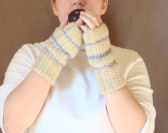 Lavender Blue Striped Sand Fingerless Gloves - Light Camel, Tan, Color - Crochet Fingerless Gloves, Wrist Warmers, Arm Warmers MADE TO ORDER