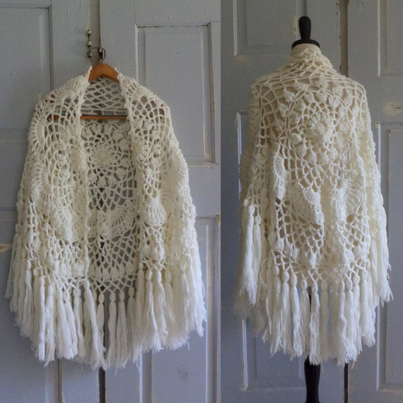 1970s Crocheted Wrap White 70s Shawl Vintage Hippie Fringed One Size Fits All