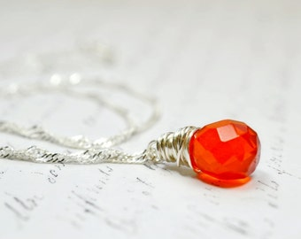 Simple Orange Necklace, Silver Wire Wrap Necklace, Delicate Orange and Silver Jewelry, Womens Necklace, Teardrop Tangerine Necklace