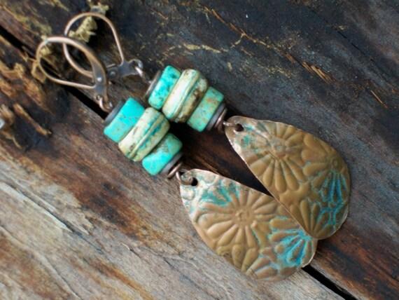 Teardrop Turquoise Wire Wrapped Earrings