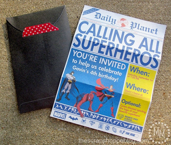 Superhero Newspaper Custom PRINTABLE Birthday Invitation