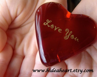 "Wedding Love is Magical Ruby Red Glass Heart  1.5x1.5x.5"" 1.6oz"