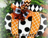 prePPy pumpkin  designs, harlequin, chevron, polka dots...ORIGINAL..aDOORable aDOORnments...whimsical DOOR jewelry by dillydallie........