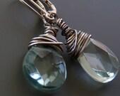 Faceted aqua crystal briolette earrings