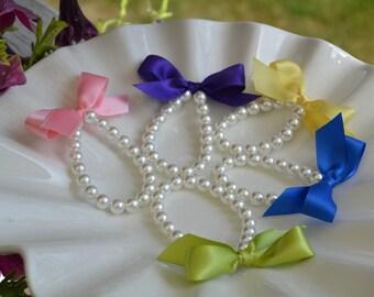 Flower Girl Pearl and ribbon bracelet for flower girl gift, childs jewelry,  little girl bracelet, custom made flower girl gift