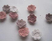 WOOL Felt Flowers-Shabby Chic Collection-Felt Posie-Felt Rosette