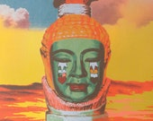 Art Print 'Halo', Buddha Bust under Sundown, Masterpiece Handpulled on Hologram Art Paper