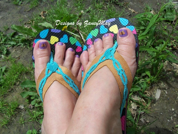 Flippin Fabulous Flip Flops, Macrame Pattern with Leather Straps