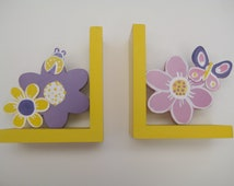 Hand painted personalized flower bookends,yellow,purple,pink,butterflies, beetles, children's bookends, kids bookends, girl's bookends
