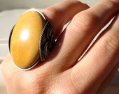 Statement Ring, Honey Gold, Mustard Yellow, Oxidized Green Eco Sterling Silver