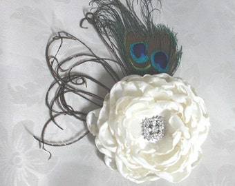 Wedding hair flower - Ivory Peony clip or comb with peacock  eye Feather wedding headPiece Fascinator