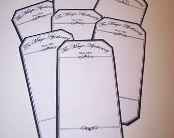 Blank Apothecary Labels Black and White Set of 15