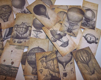 Hot Air Balloon Steampunk Sticker Labels Set of 24