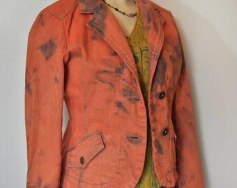 "Autumn Small Denim JACKET - Orange Apricot Hand Dyed Upcycled Cotton DKNY Denim Blazer Jacket - Adult Womens Size Small (34"" chest)"
