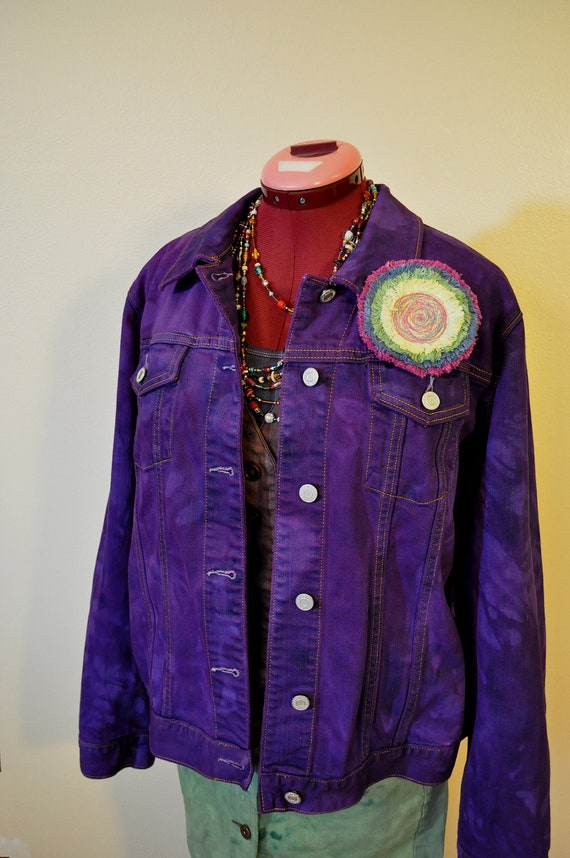 lavender purple acid wash denim jean jacket We love denim jackets here at store, so we stock them all year round for affordable prices. Our selection of purple jackets are trendy yet timeless, cute yet affordable!
