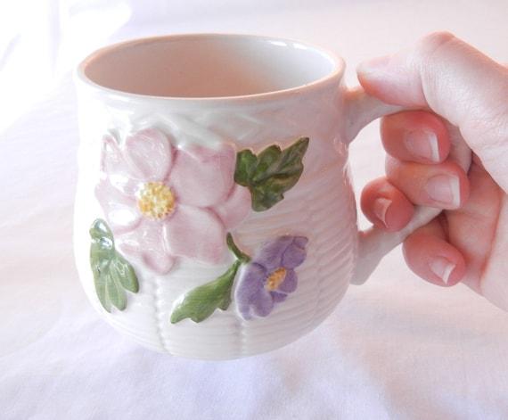 Bordallo Pinheiro Mug, Basket Motif Pink Purple Flowers, Portugal, Caldas da Rainha