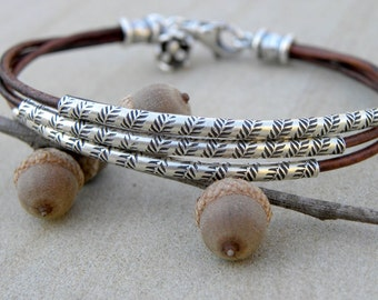 Sterling Silver and Chocolate Brown Leather Bracelet Multiple Strands
