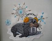 6 Snow Animals  Embroidered Quilt Blocks