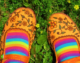 Sweet MaryJanes/Handpainted Canvas Shoes/MaryJane Slippers/HIppie/Bohemian/Size 8 1/2 to 9
