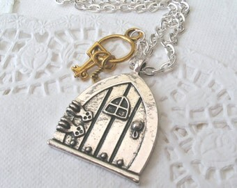 Fairy Door Necklace with Keys, Fairy Necklace, Door and Key Necklace