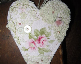 Shabby Pink Rose Barkcloth Vintage Lace Collage Heart Ornament C