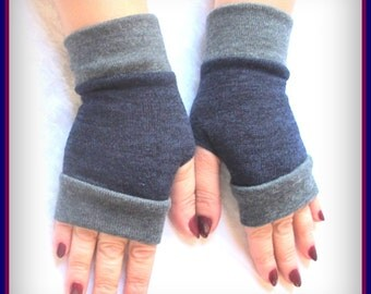 Blue Fingerless gloves   with gray cuffs