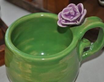 Hand sculpted rose teacup
