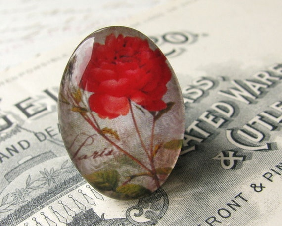 Bright red rose, Paris script, floral vintage vibe - handmade 25x18 mm glass oval cabochon, flower stem, china, tomato red  cab FF25