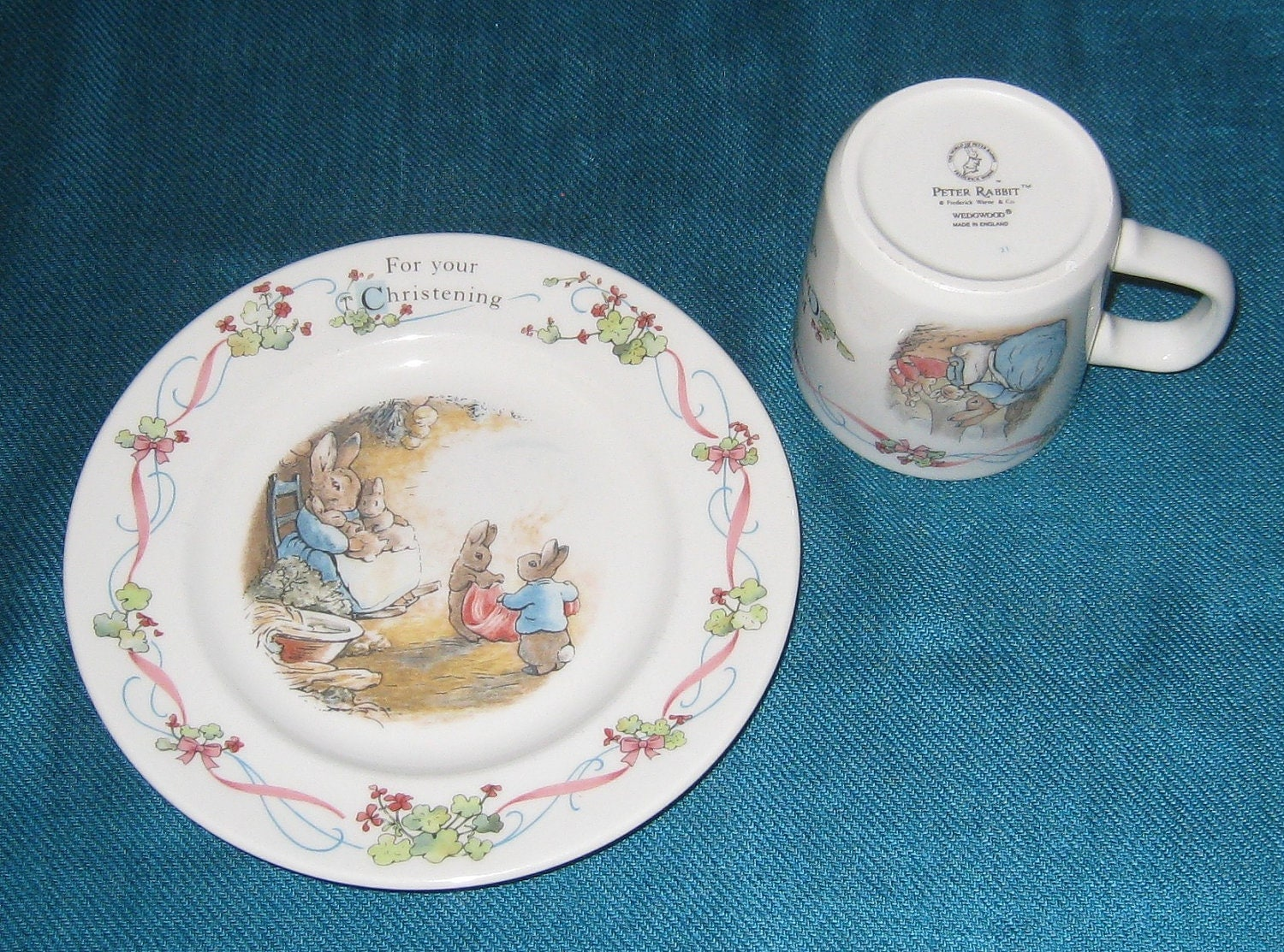 Wedgwood Peter Rabbit Baby China Set Plate And Cup By Nanandpeg