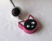 Black Cat Belly Button Ring, Belly Button Jewelry, Navel Ring, Kawaii Belly Button Ring