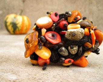 Macrame Bracelet Raw Baltic Amber Coral Pyrite Black Linen Orange Red Earthy Colors OOAK Fall Fashion