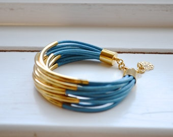 CLEARANCE  SALE : Sky Blue Leather Cuff Bracelet with Gold Tube Beads - Multi Strand Bangle Women's Bracelet ... DISCONTINUED