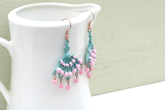 Patina Metal Pink and Blue Dangle Long Chandelier Earrings, Bohemian Chic Jewelry, Aged, Vintage style