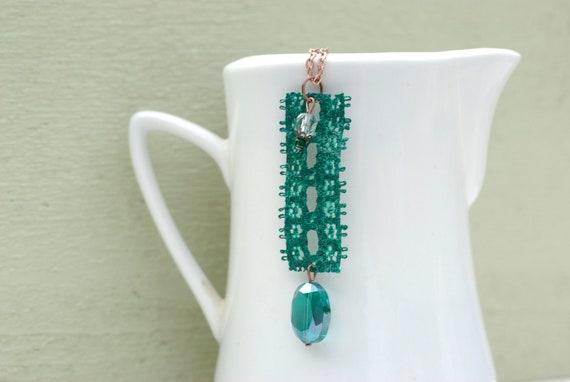 Lace Jewelry, Rectangle Jewelry, Lace Earrings, Green Necklace, Earrings and Necklace Set, Very Long Neckalce, Long Dangle Earrings