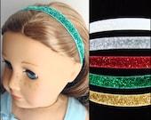 Holiday Glitter Headbands for American Girl dolls  - Set of 5