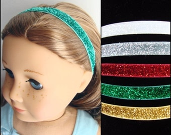 Holiday Glitter Headbands for American Girl dolls  - Set of 5