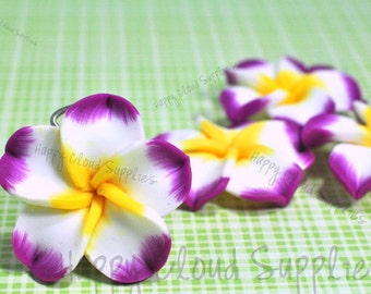 Large Fuchsia Edge, White and Yellow Polymer Clay Plumeria Frangipani Flower Beads... 4pcs