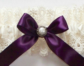 Ivory Garter with Purple Satin Ribbon Bow and Vintage Inspired Pearl Centering  - The AMY Garter