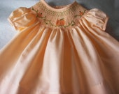 Handsmocked Bishop Dress with Pumpkins for Fall or  Thanksgiving- size 6 months - reetmomma