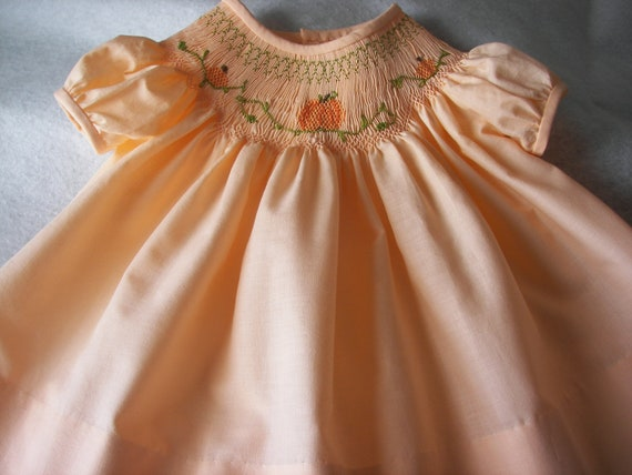 Handsmocked Bishop Dress with Pumpkins for Fall or  Thanksgiving- sizes 3, 6 and 12 months and toddler sizes