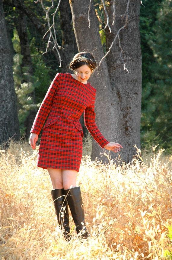 Vintage Red Plaid Mini Dress.... Autumn Dress... Plaid Dress...  REBEL GIRL (s)