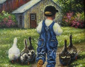 Little Farm Boy Art Print, boys room wall art, country boy wall decor, childrens art, ducks Vickie Wade art